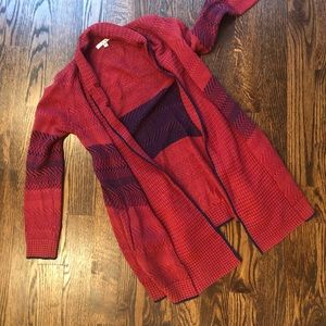 FULL LENGTH RED WITH NAVY STRIPE CARDIGAN